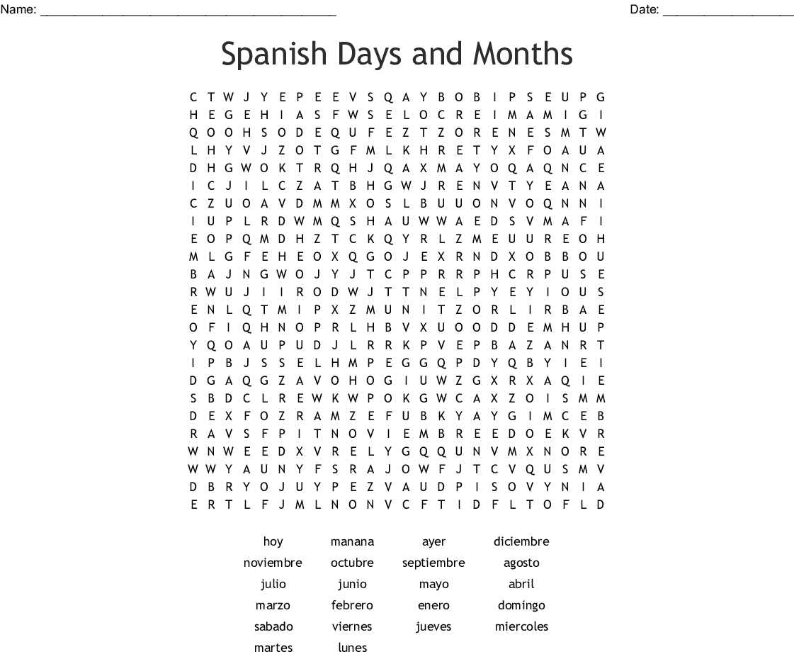 Spanish Days And Months Word Search