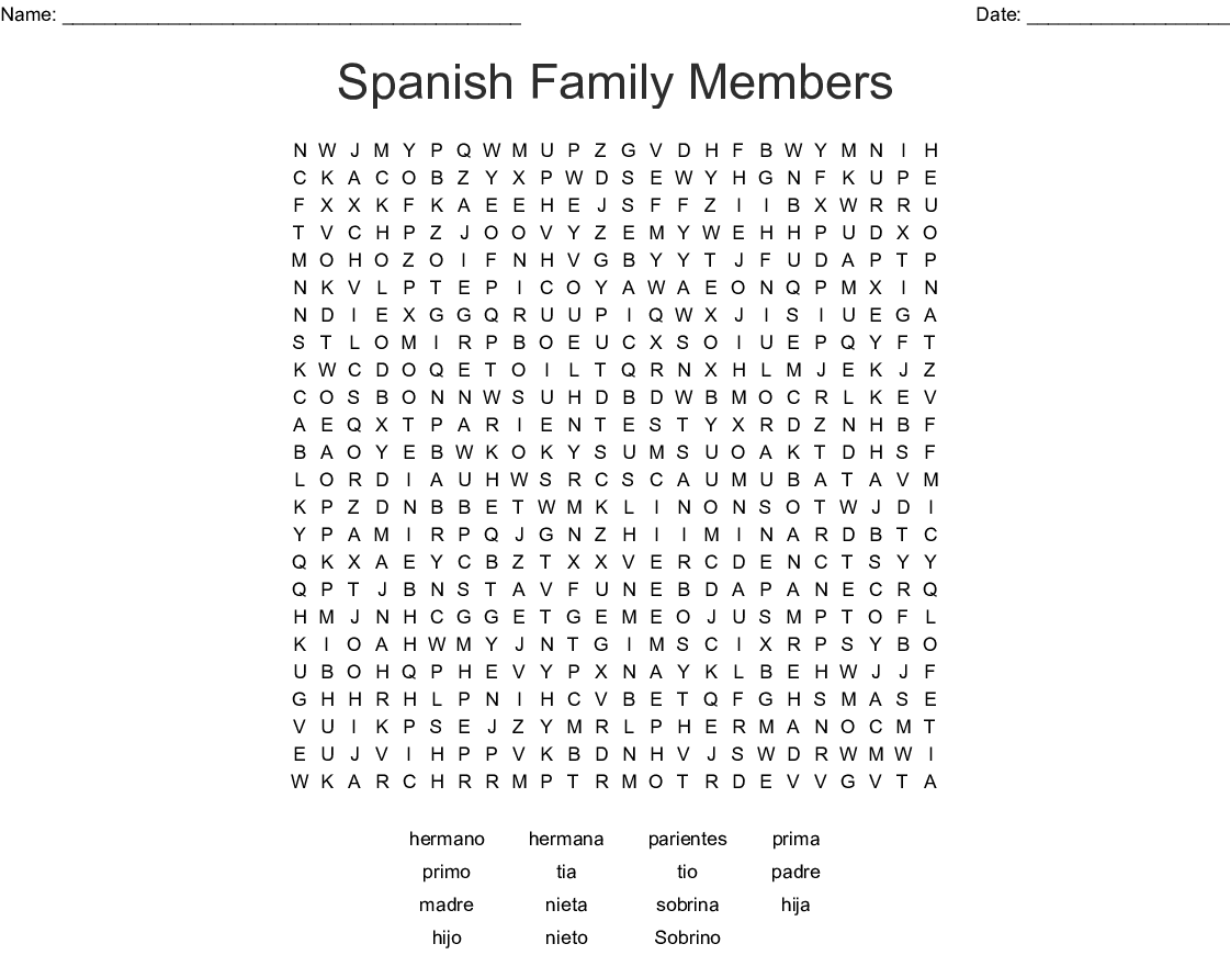 Spanish Family Members Word Search