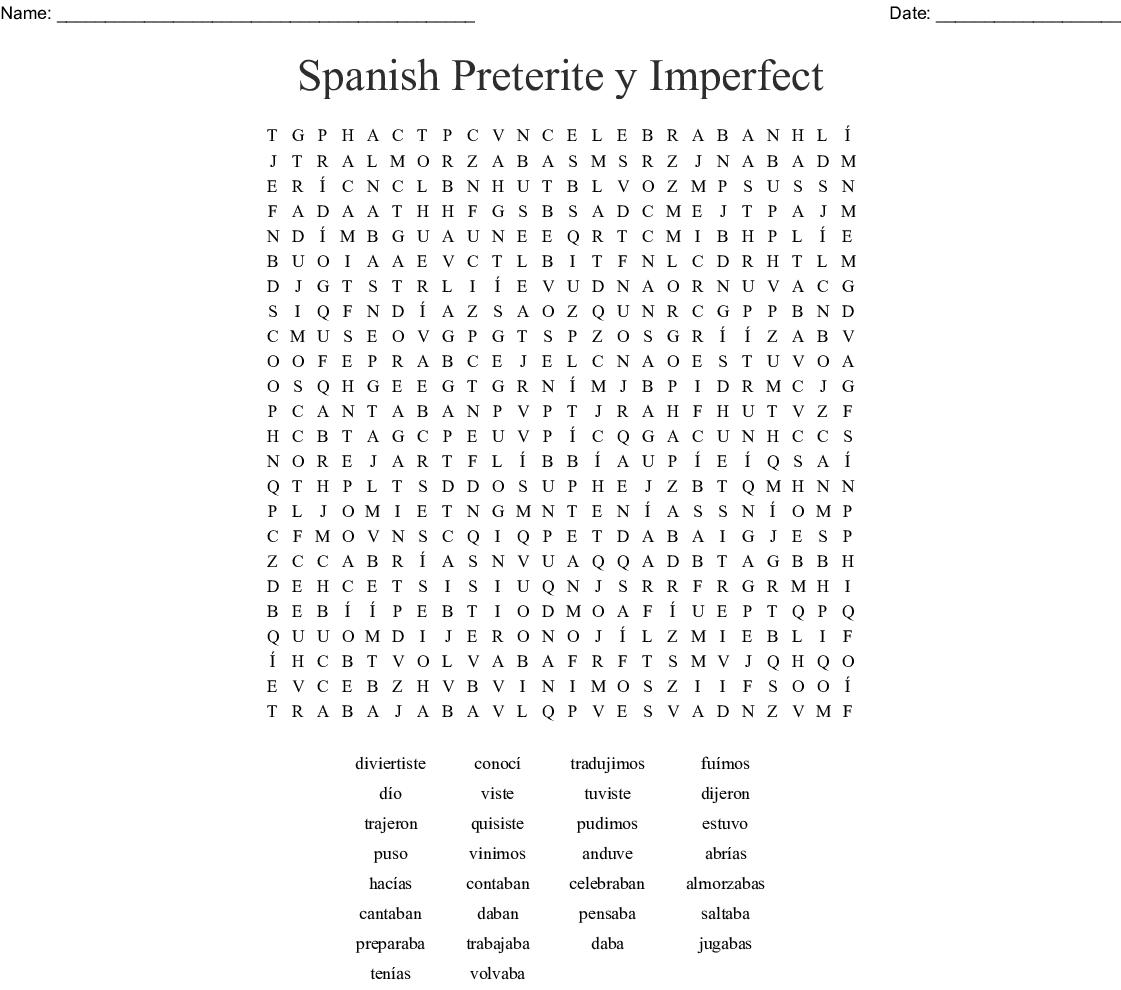 Sopa De Letras Irregular Preterite Tu Form Word Search