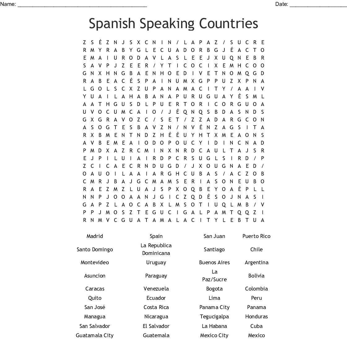 Spanish 4b Capitals Countries Crossword