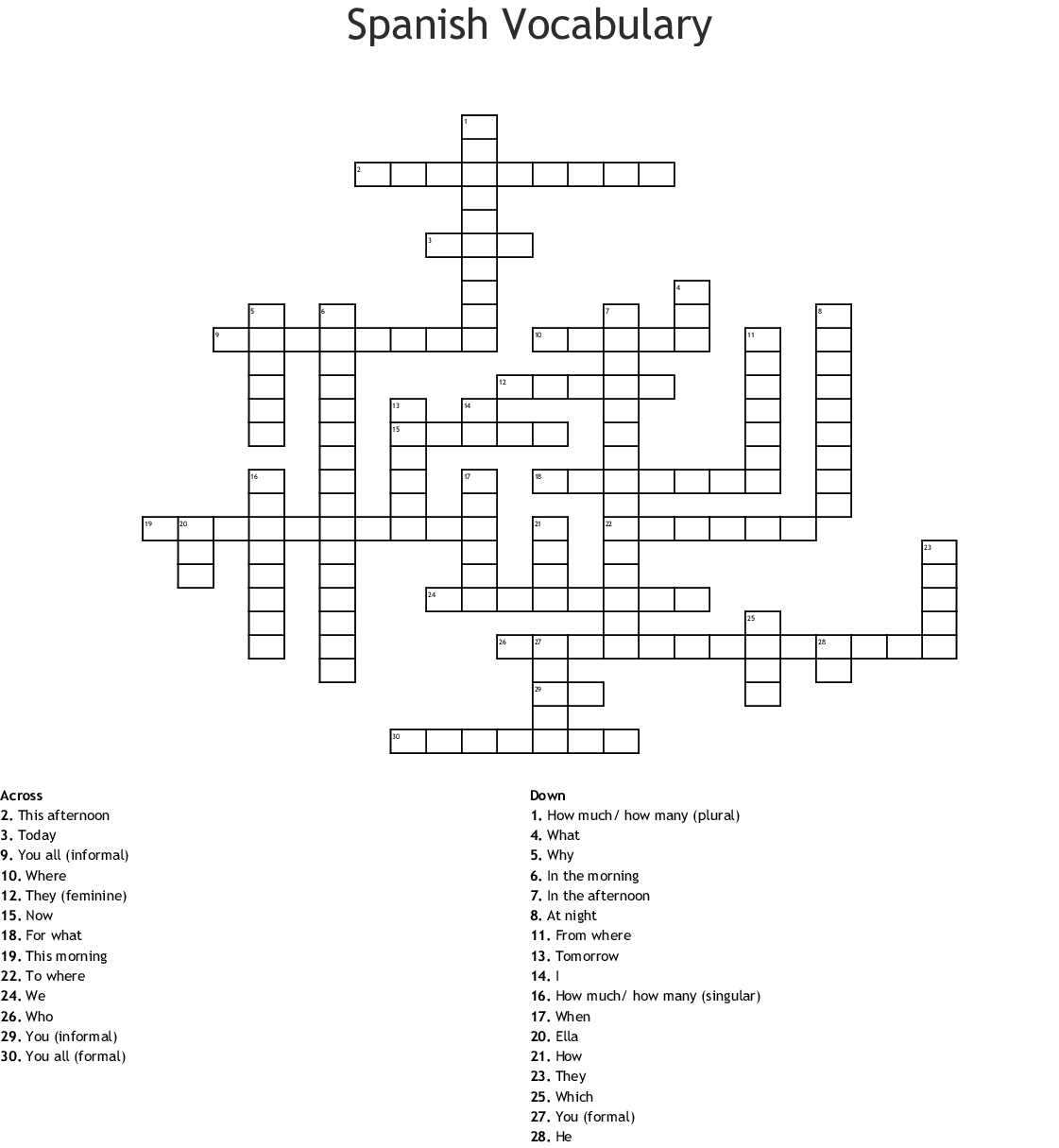 Palabras Interrogativas Crossword
