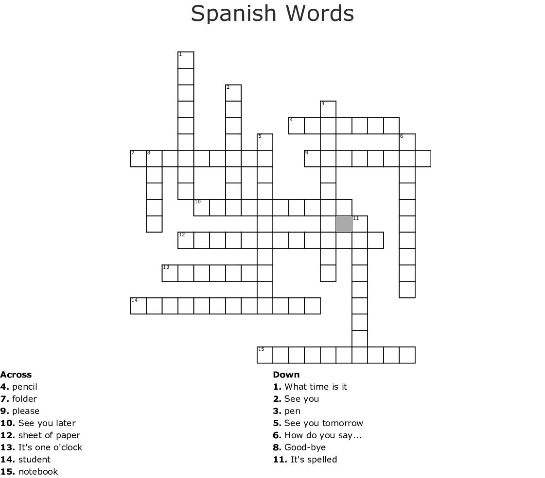 Spanish Words Crossword