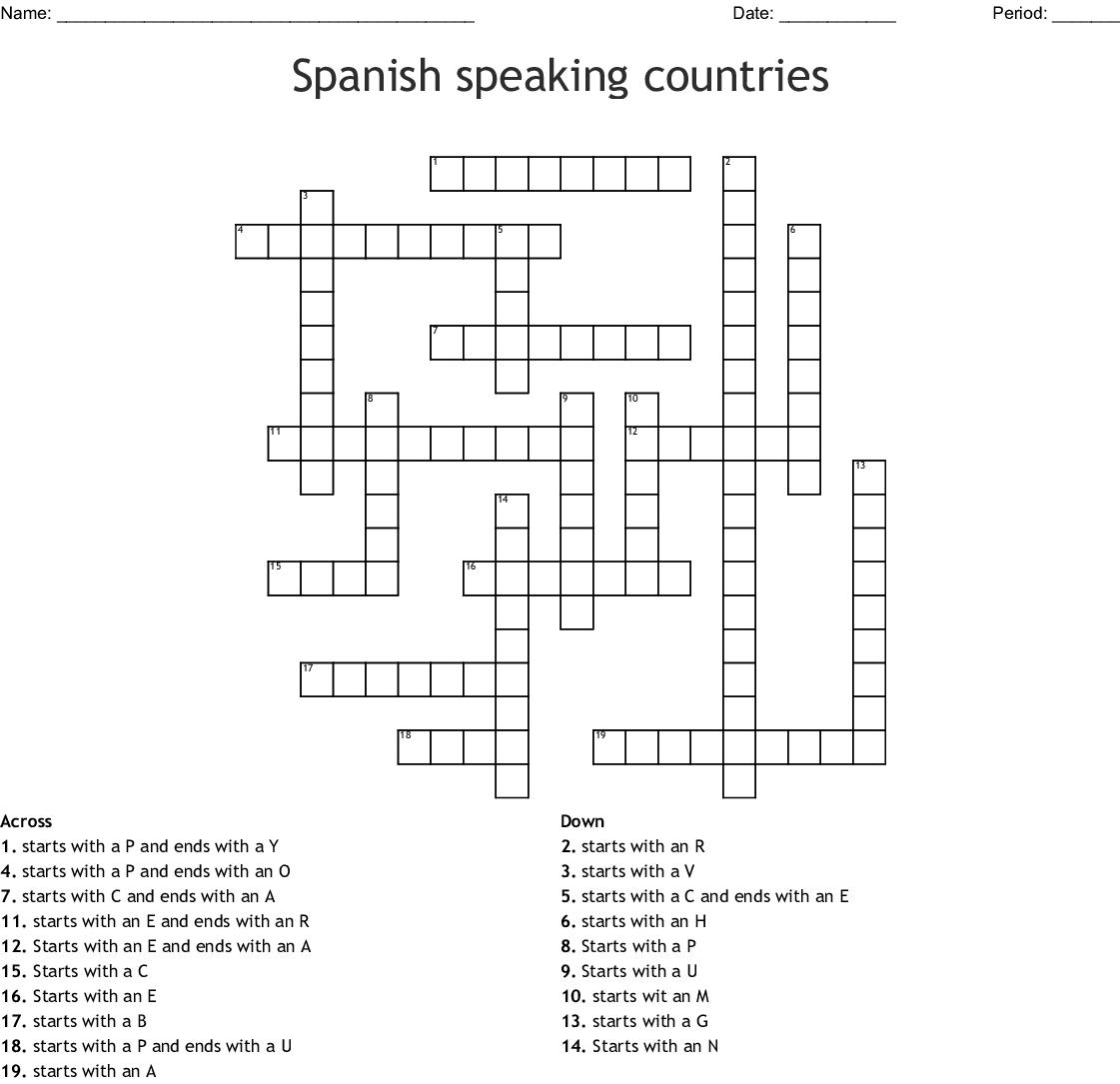 Spanish Speaking Countries Crossword