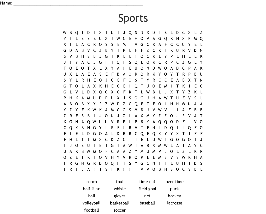 Trust Sports Word Search Printable