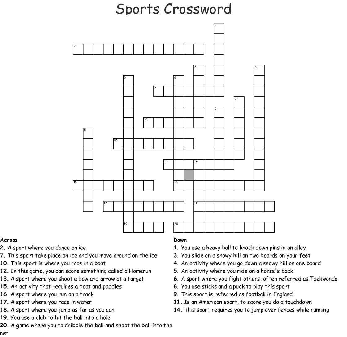 Best Sports Crossword Puzzles Printable