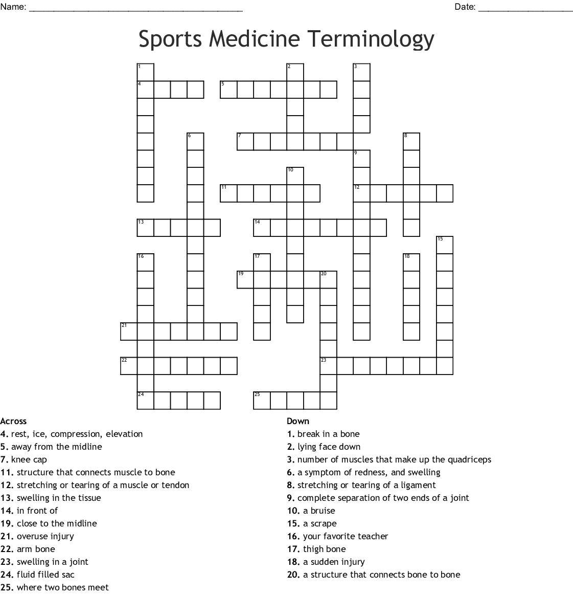 Sports Medicine Terminology Crossword