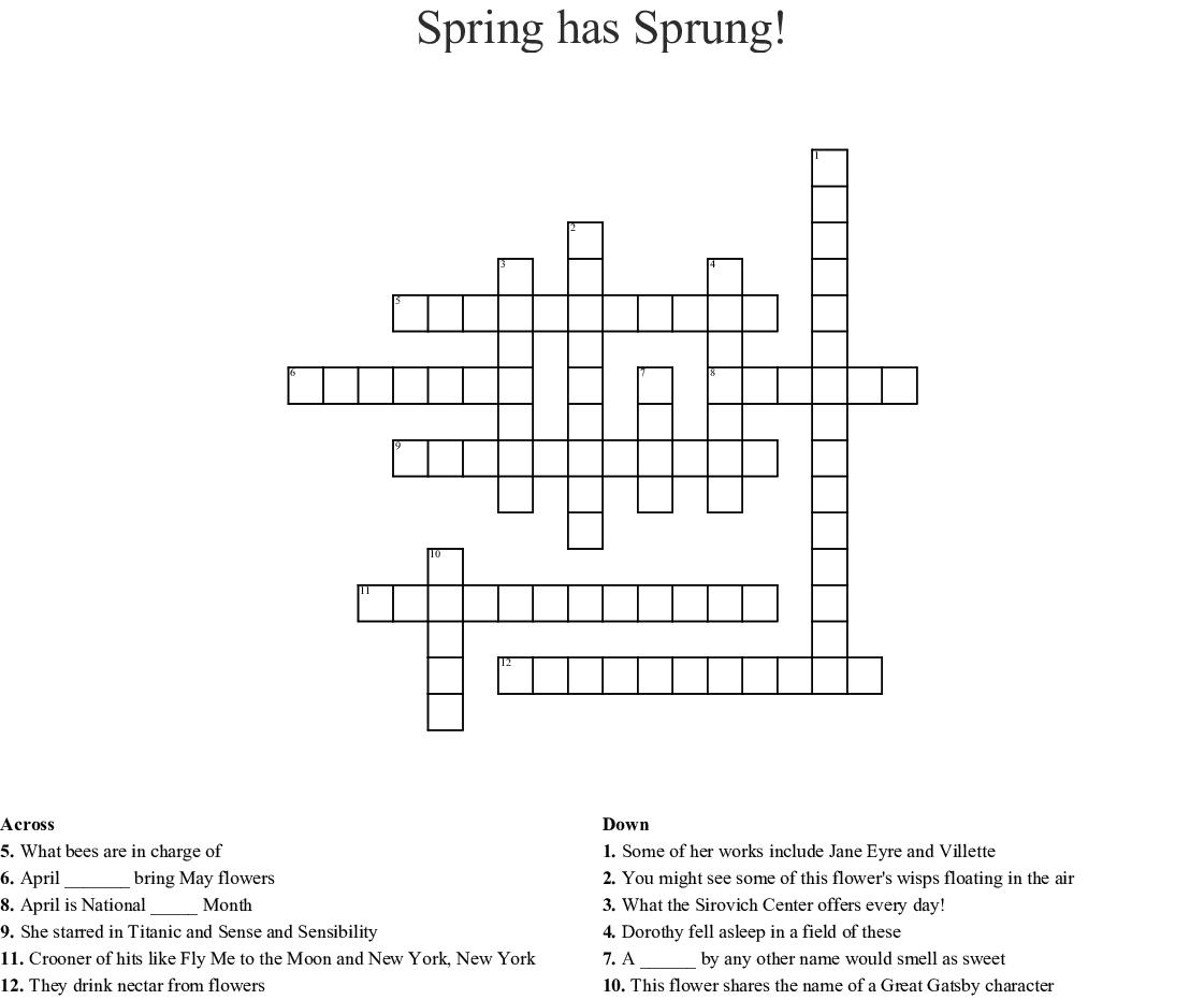 Spring Has Sprung Crossword