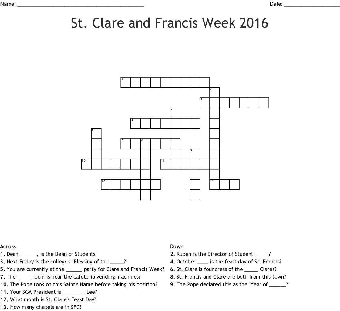 St Clare Of Assisi Crossword