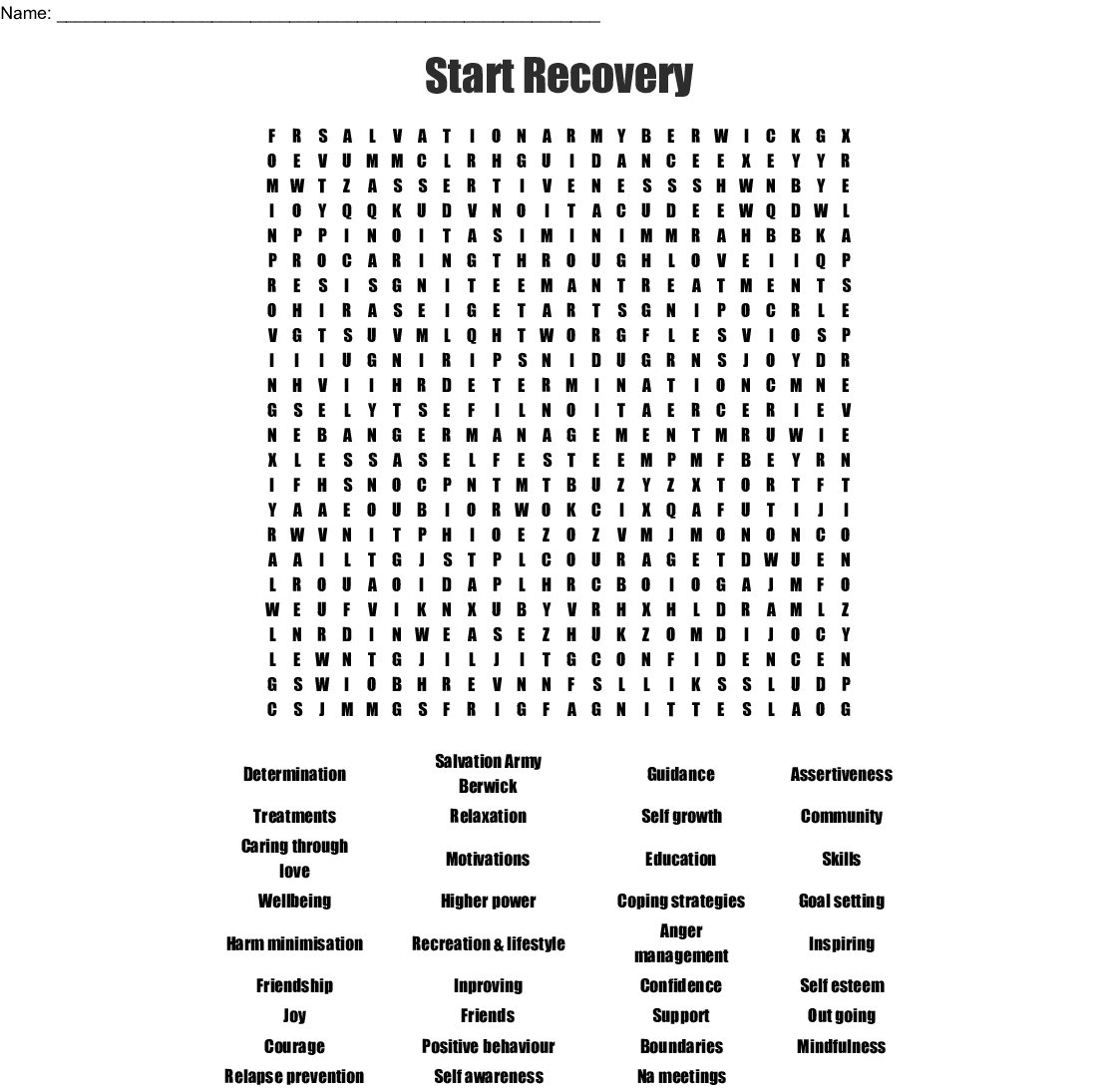 Start Recovery Word Search