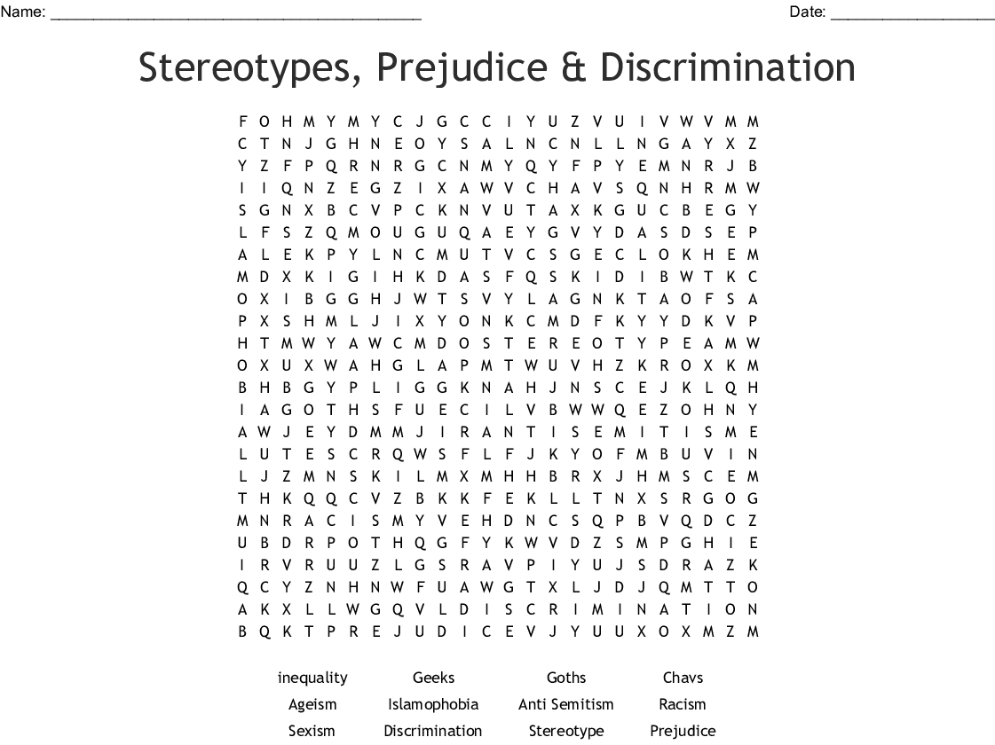 Stereotypes Word Search