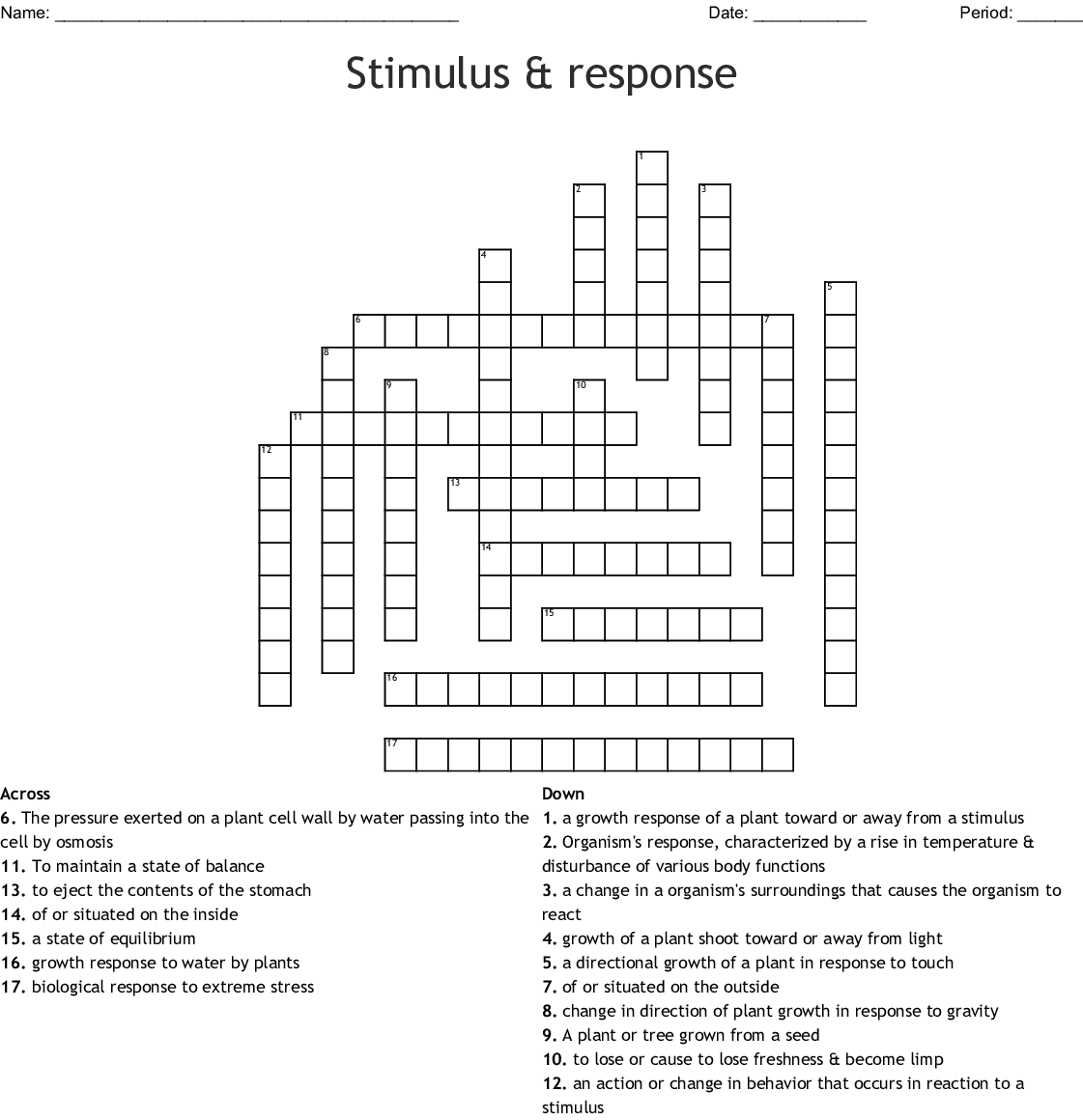 Tropisms Crossword