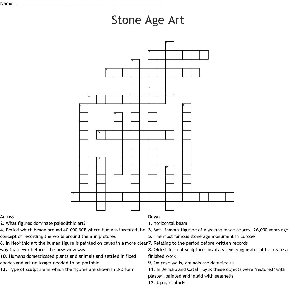 Stone Age Art Crossword