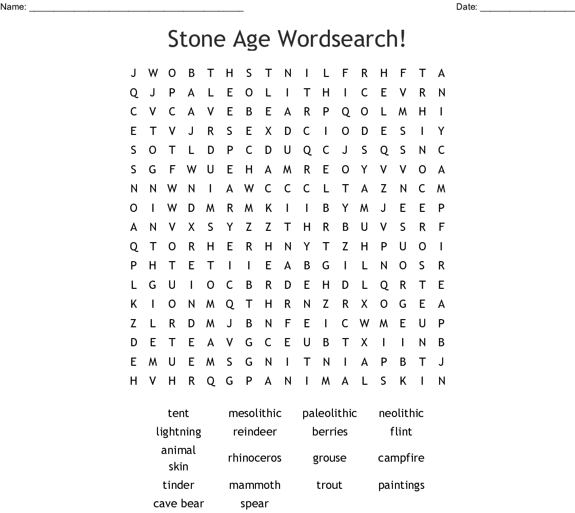Stone Age Wordsearch