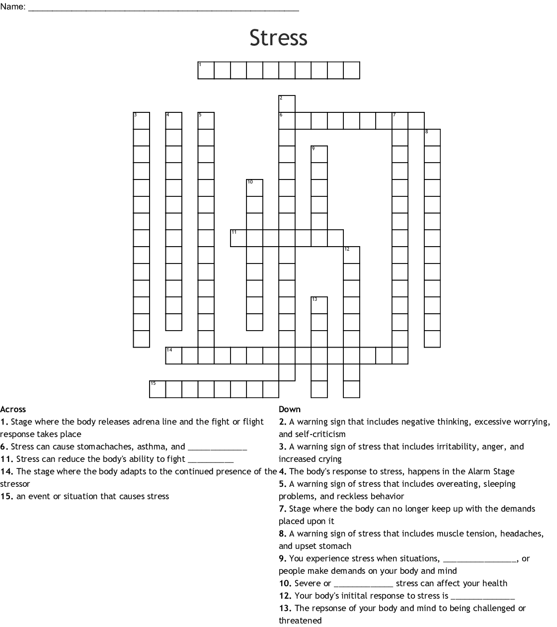 Signs Symptoms Amp Causes Of Stress Word Search