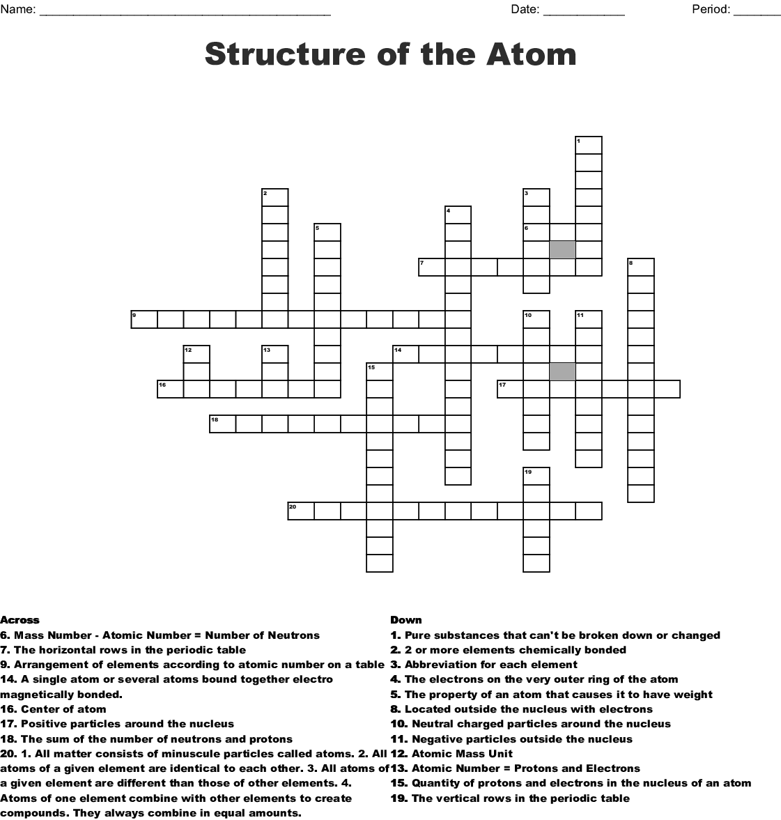 Periodic Table Crossword Puzzle