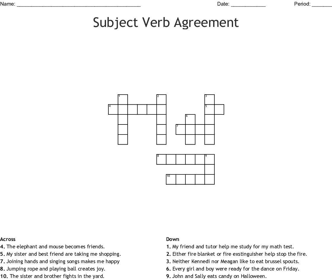 Subject Verb Agreement Crossword