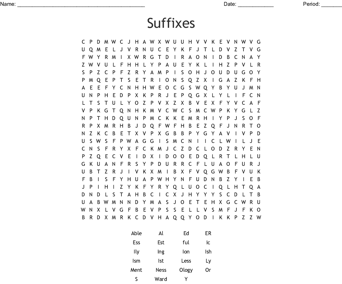 Suffixes Word Search