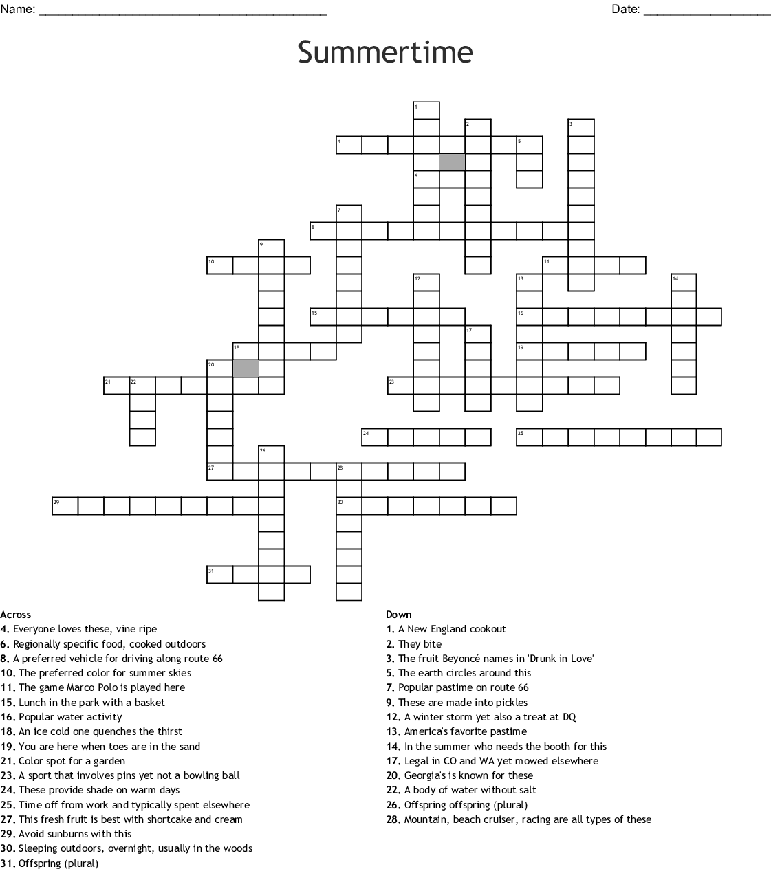 Summer Crossword Puzzle Printable That Are Divine