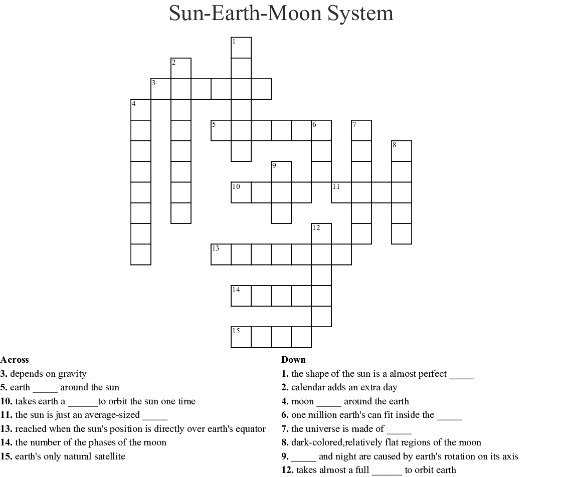 The Sun Earth Moon System Worksheet Answer Key