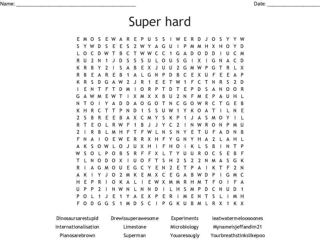 Super Hard Word Search