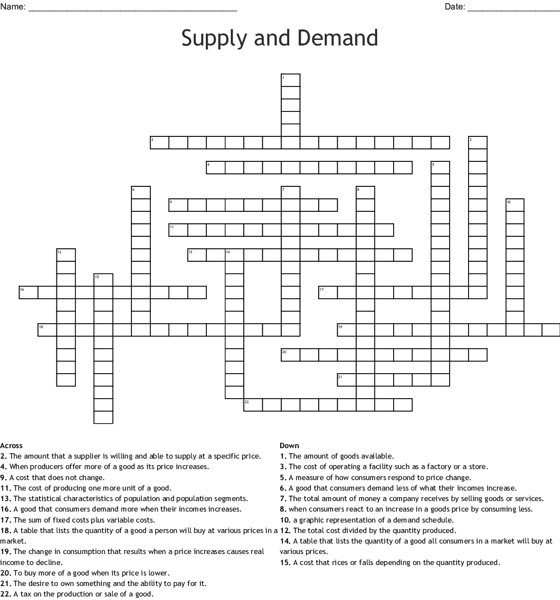 Supply And Demand Crossword