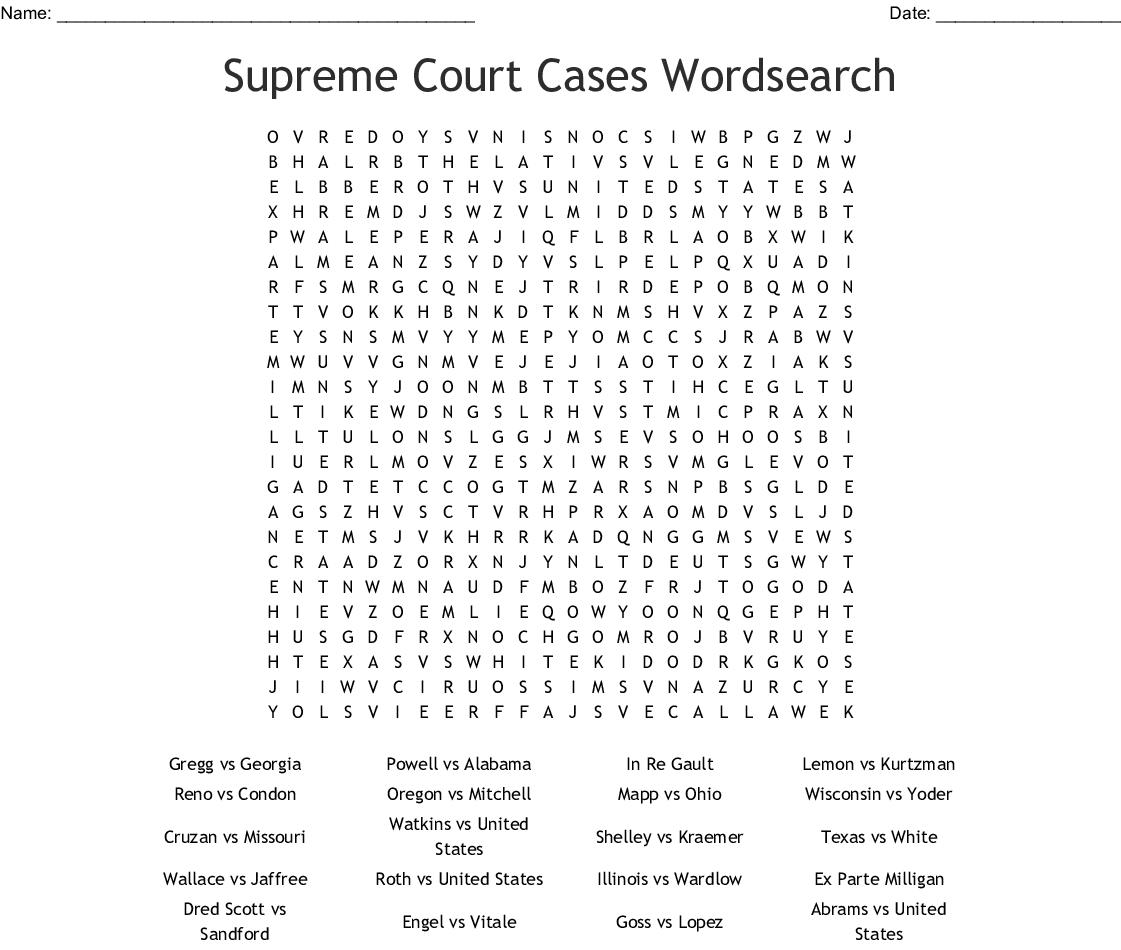 Dred Scott Word Search