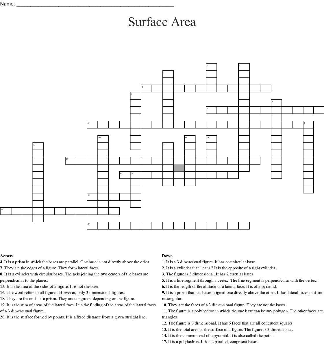 Surface Area Crossword
