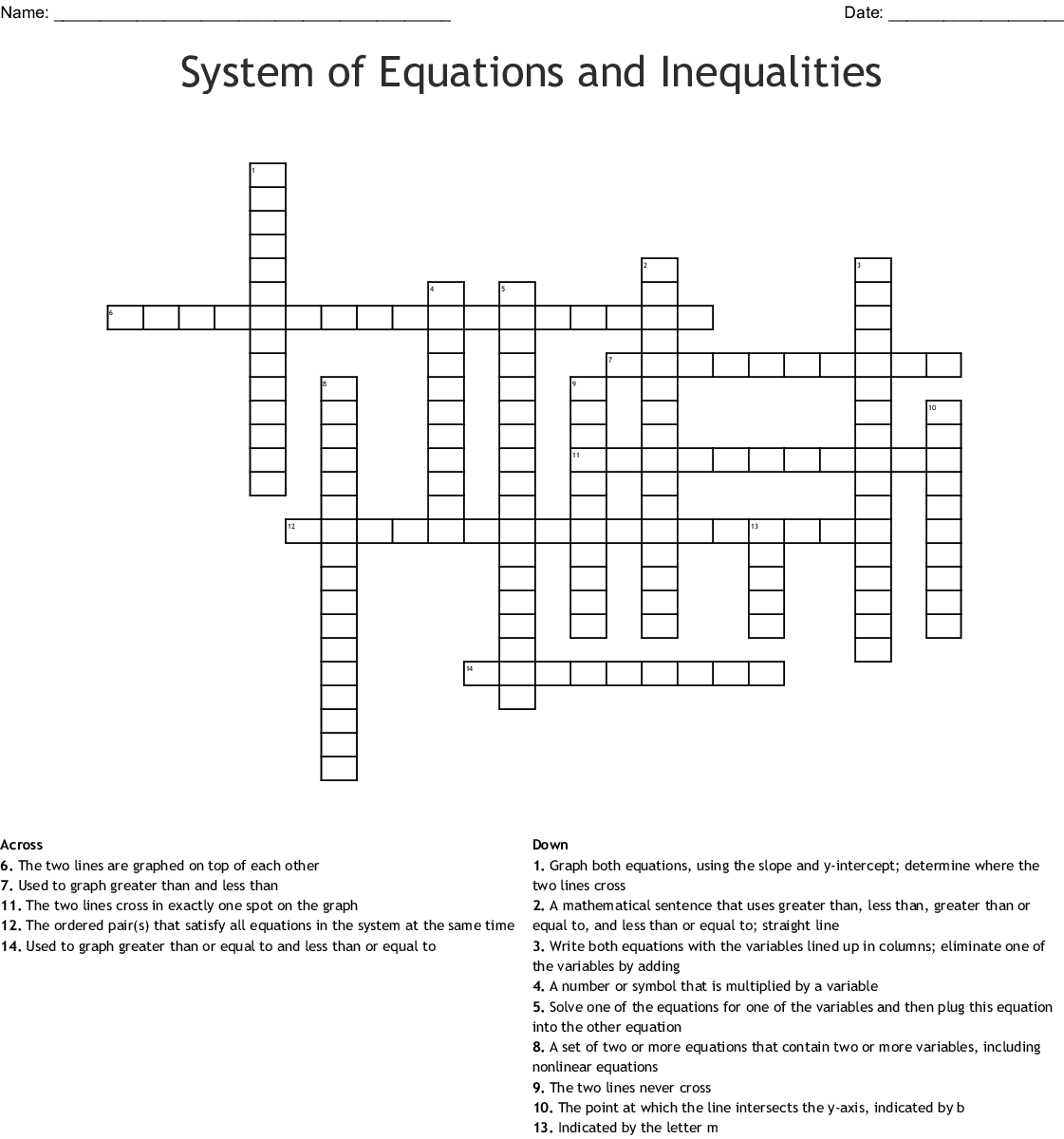 Solving Inequalities Word Search