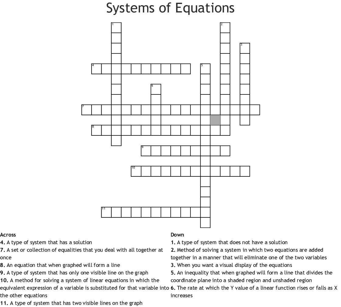 System Of Equations Vocabulary Word Search
