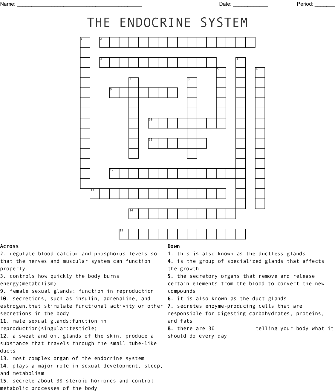 Endocrine System Crossword