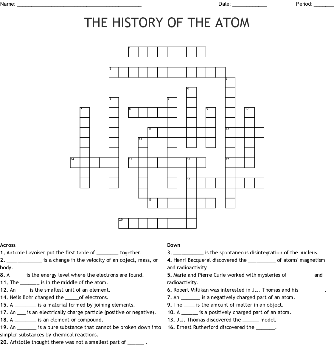 Atomic Structure Word Search