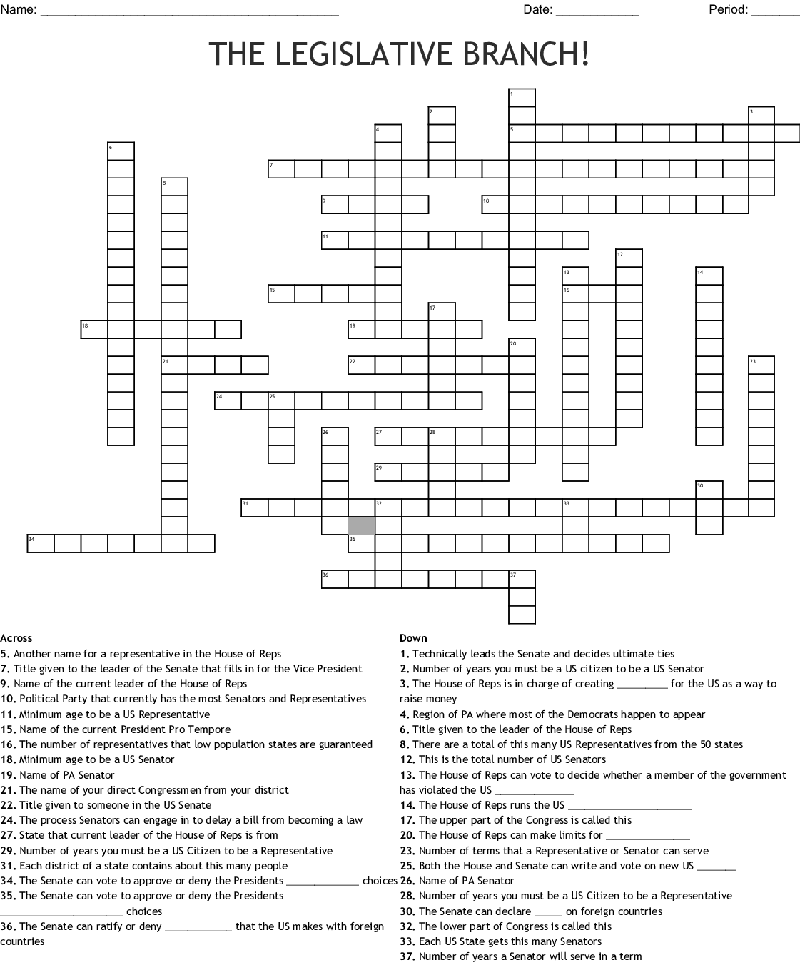 Chapter 6 The Legislative Branch Crossword