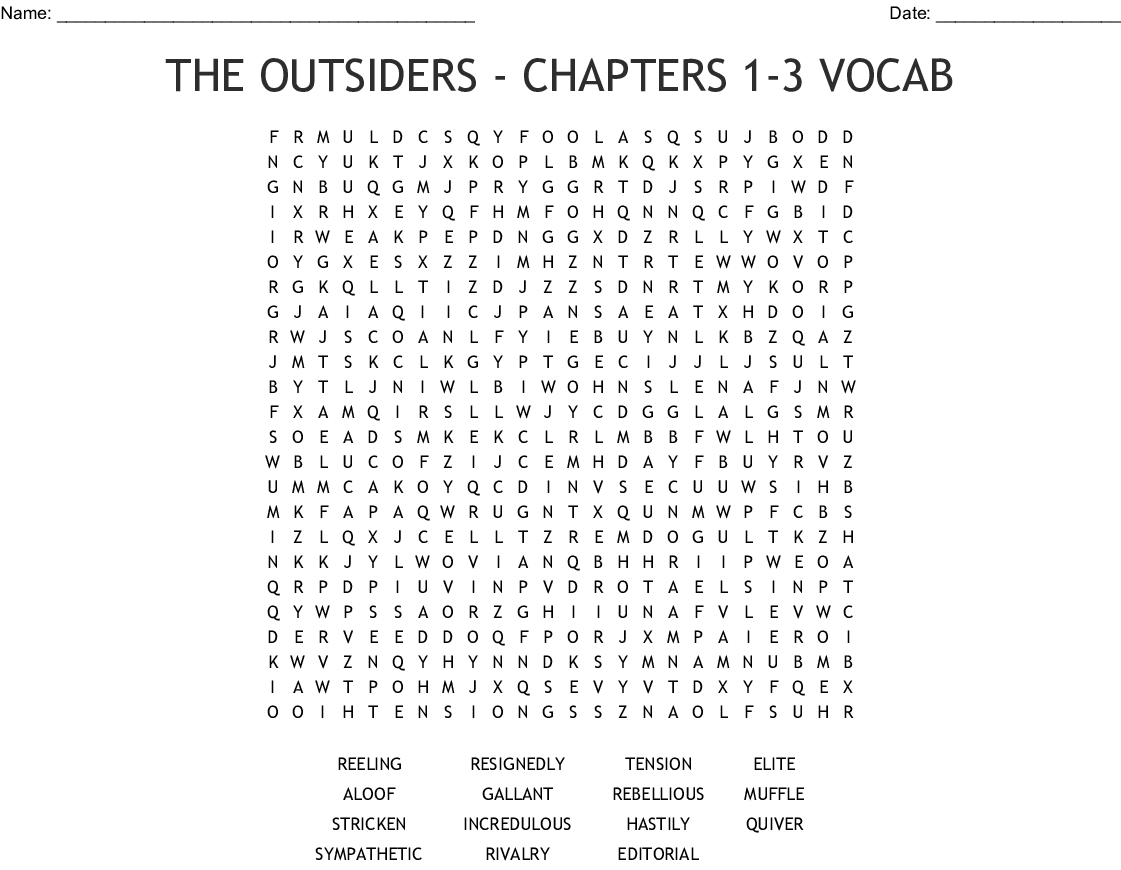 The Outsiders Chapters 1 3 Vocabulary Word Search