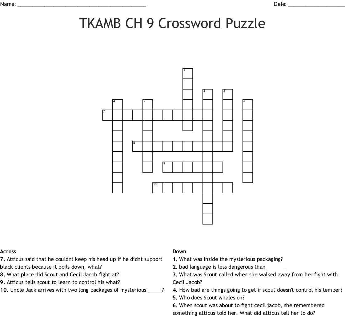 Tkamb Ch 9 Crossword Puzzle Crossword