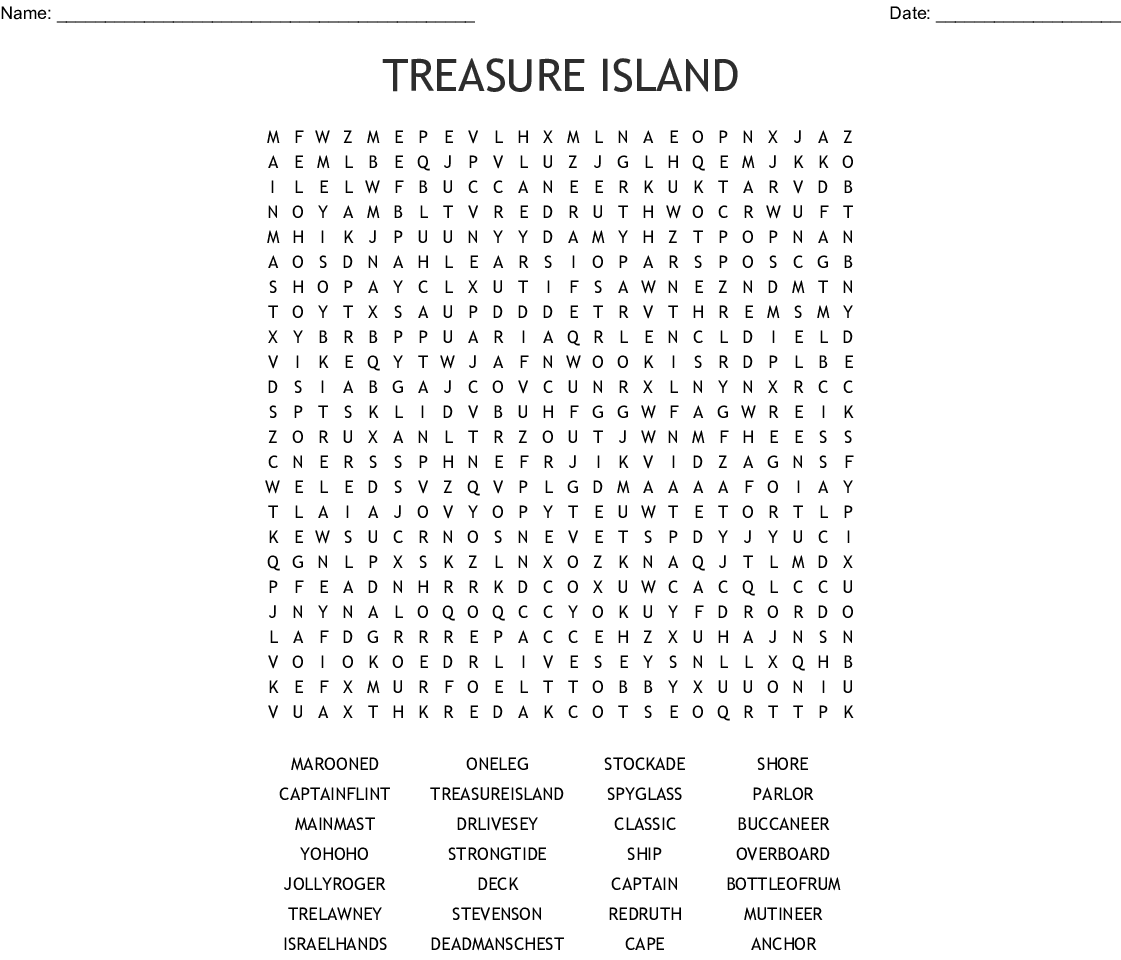 Talk Like A Pirate Day Sept 19th Word Search