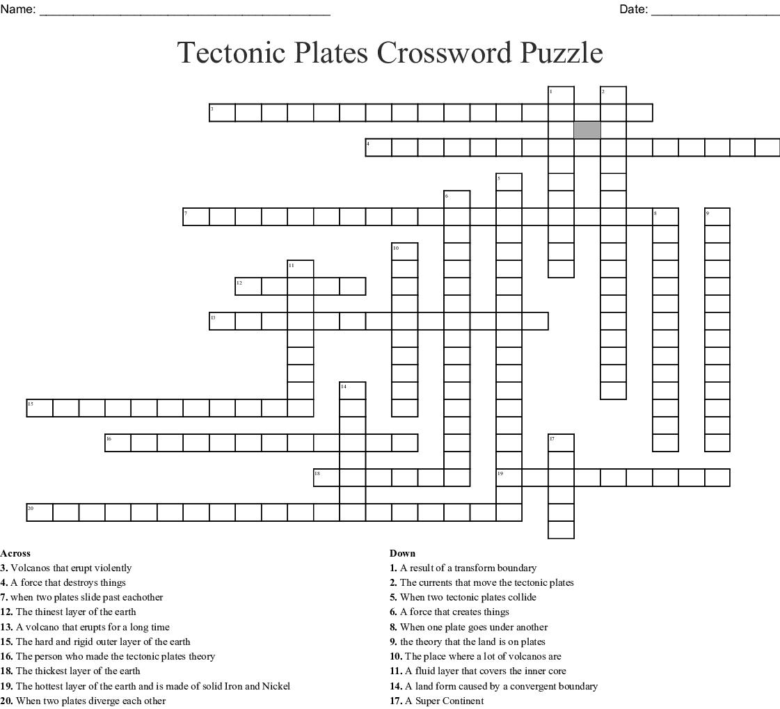 Tectonic Plates Crossword Puzzle