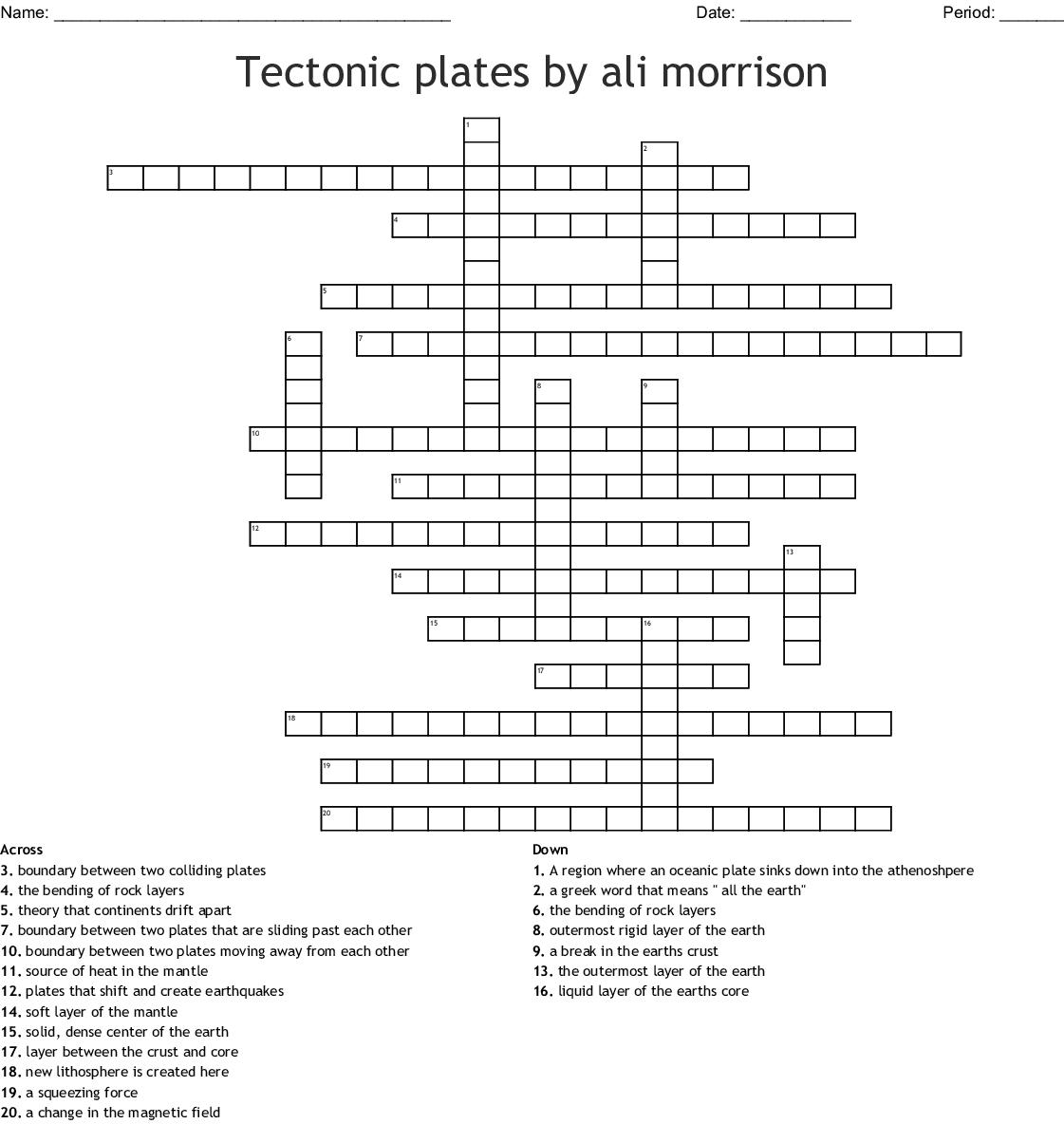 Tectonic Plates By Ali Morrison Crossword