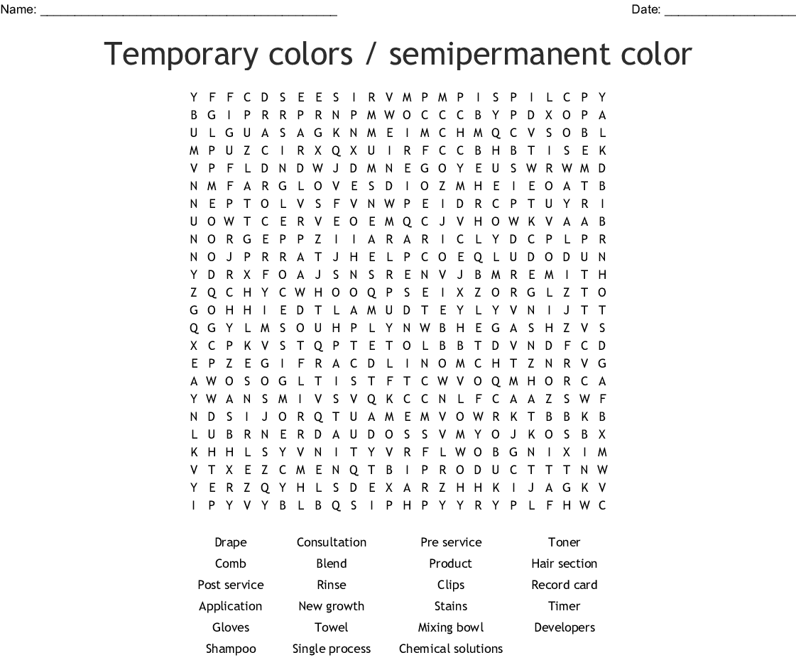Temporary Colors Semipermanent Color Word Search