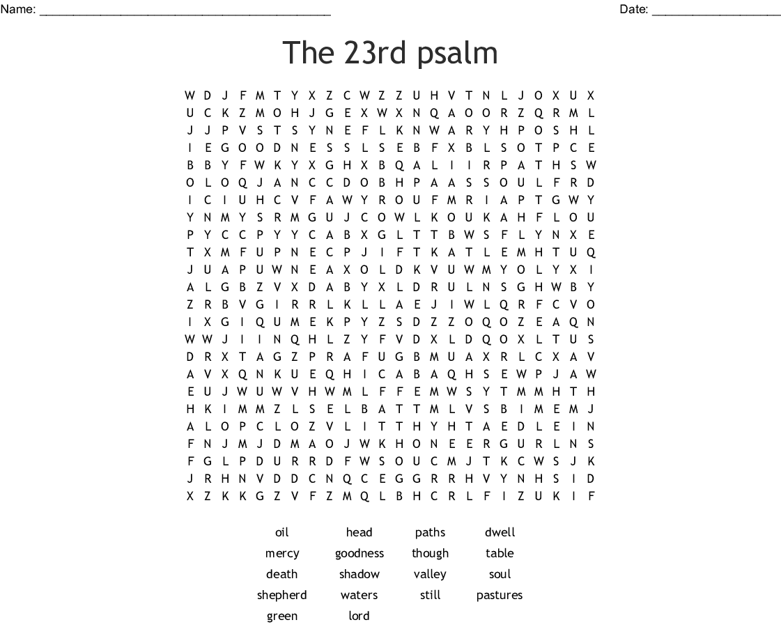 The 23rd Psalm Word Search
