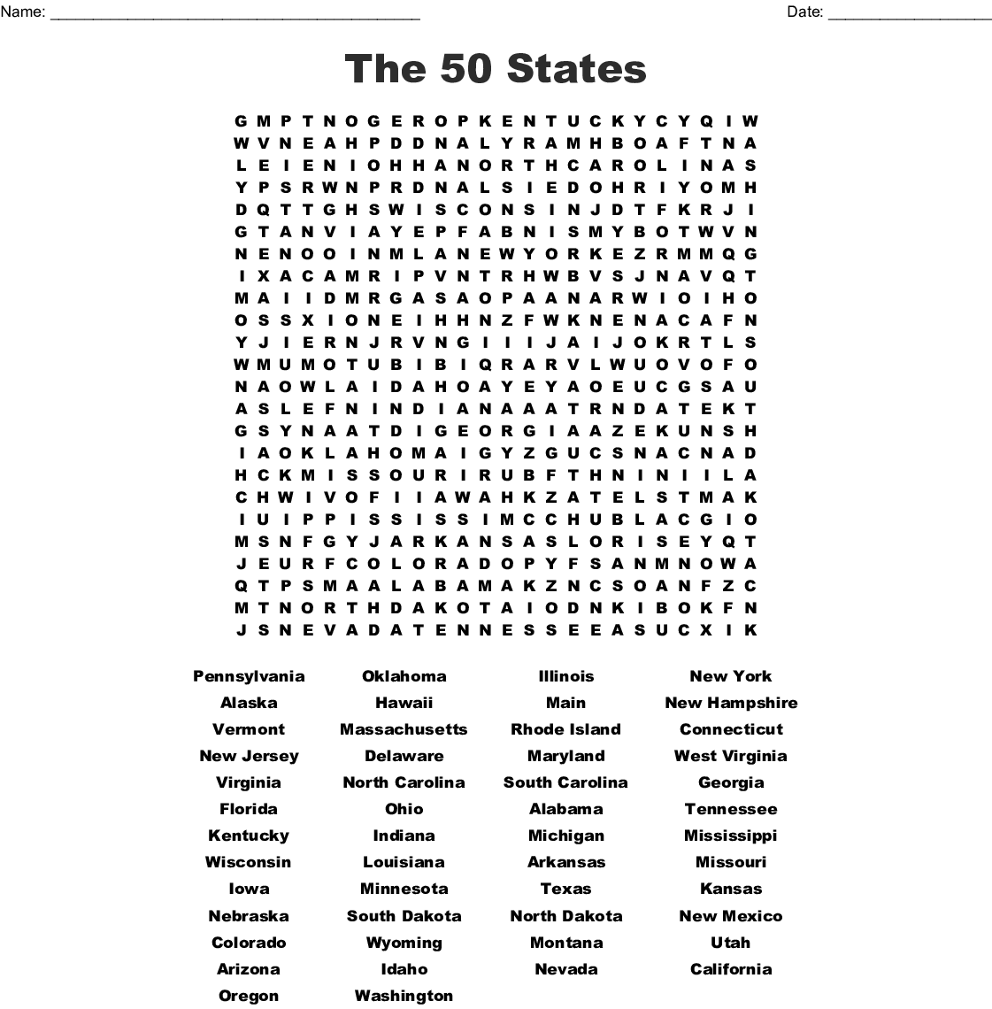 The 50 States Word Search