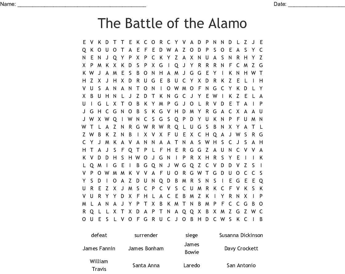 The Battle Of The Alamo Word Search