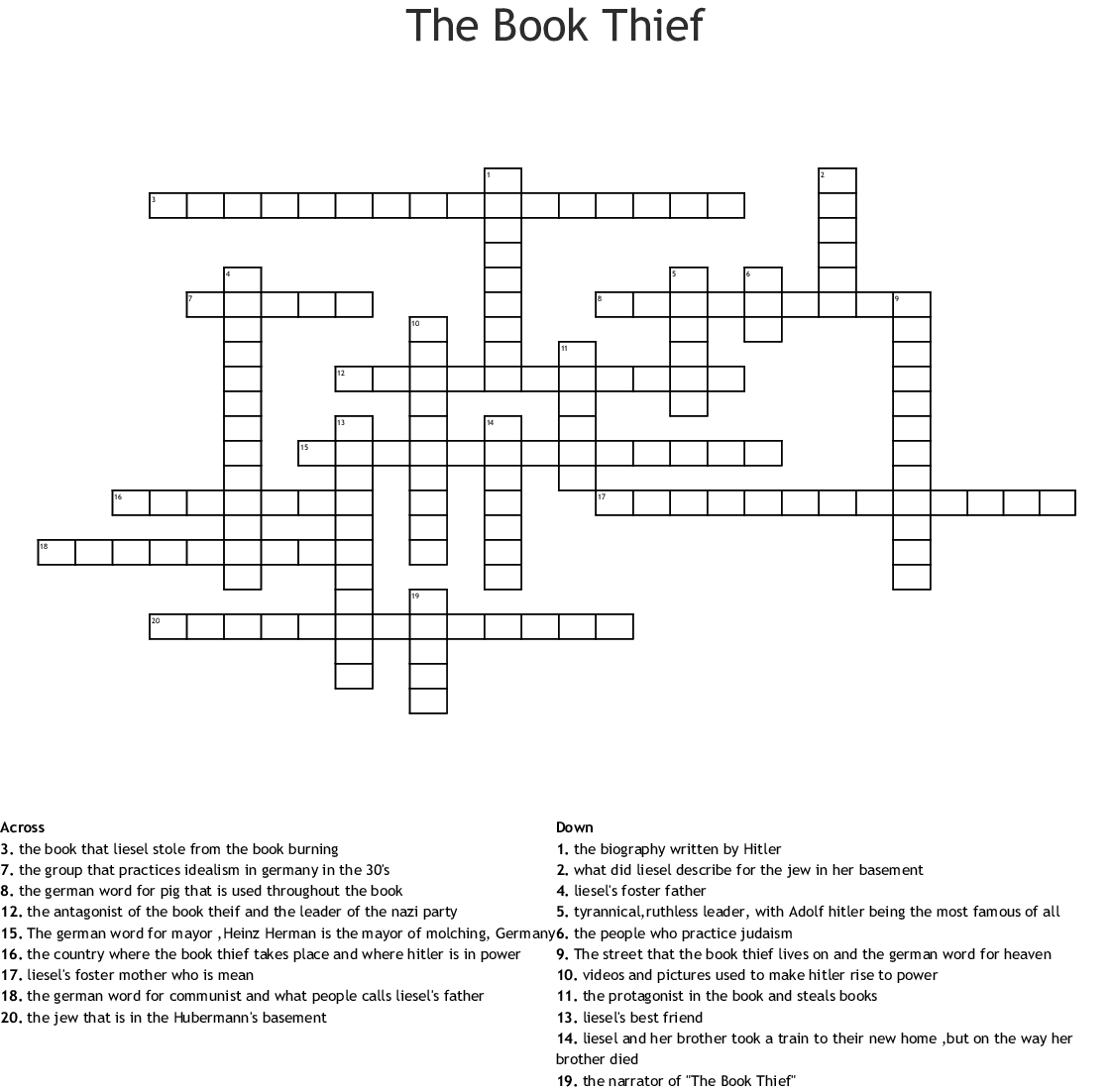 The Book Thief Word Search