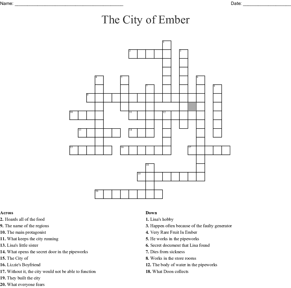 City Of Ember Crossword