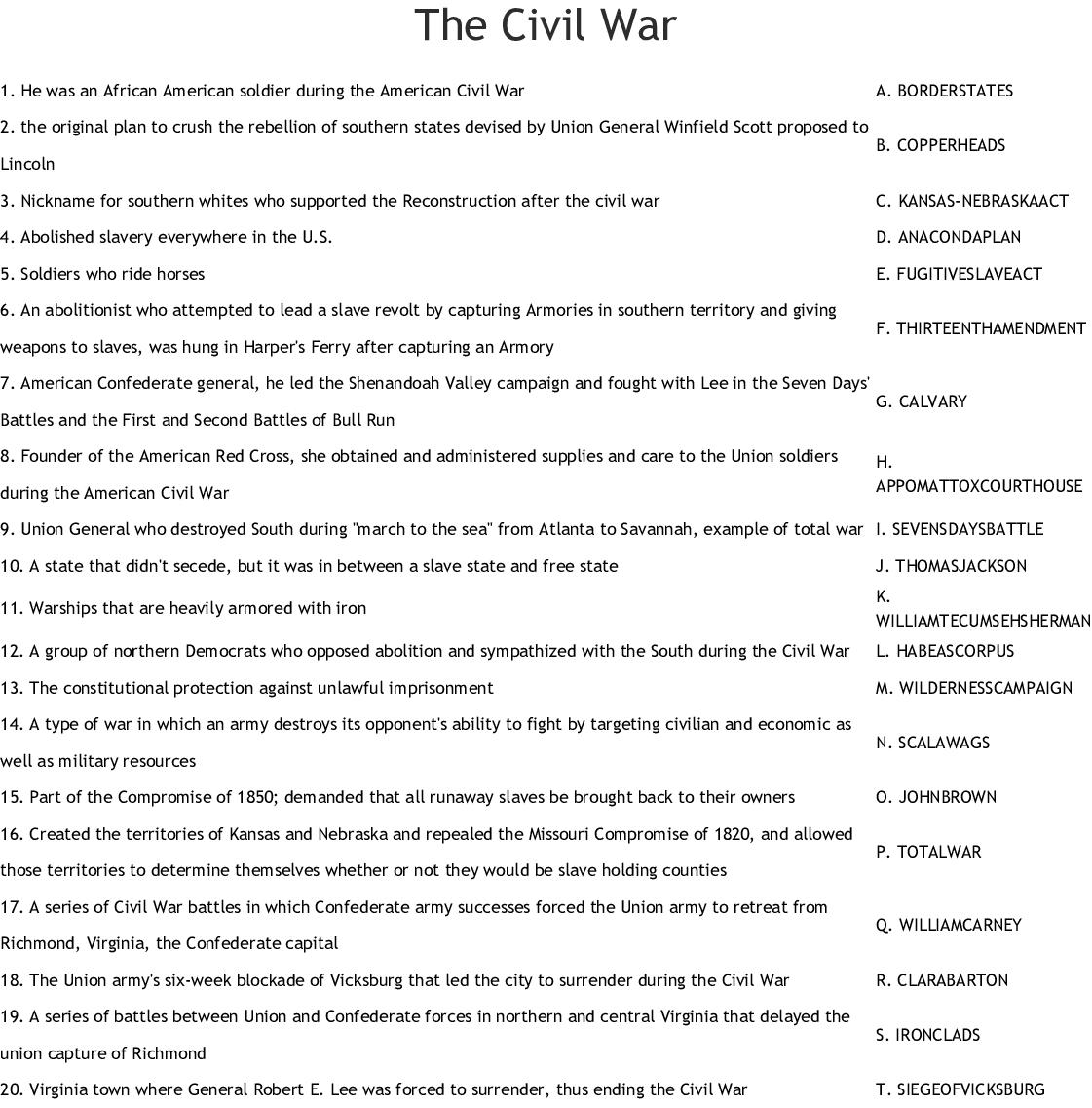 The Civil War Worksheet