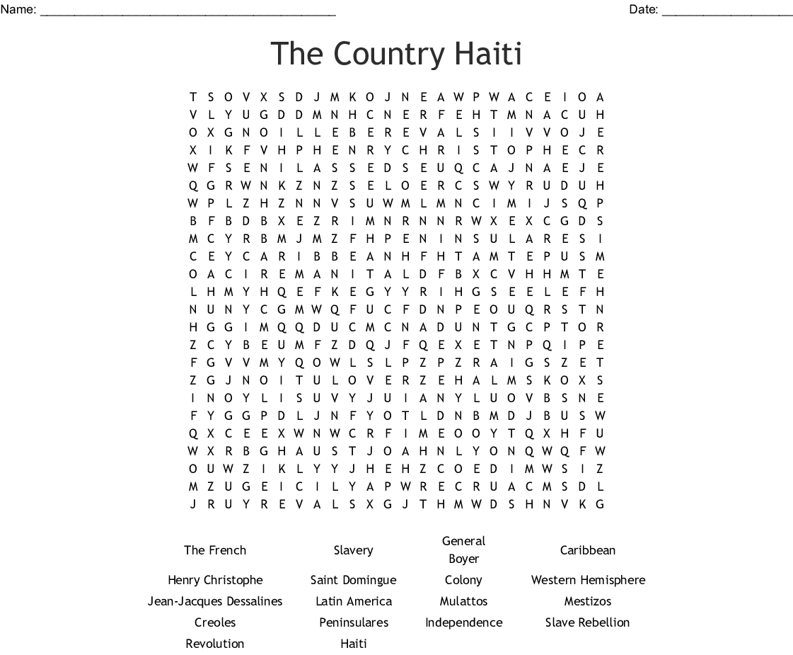The Country Haiti Word Search