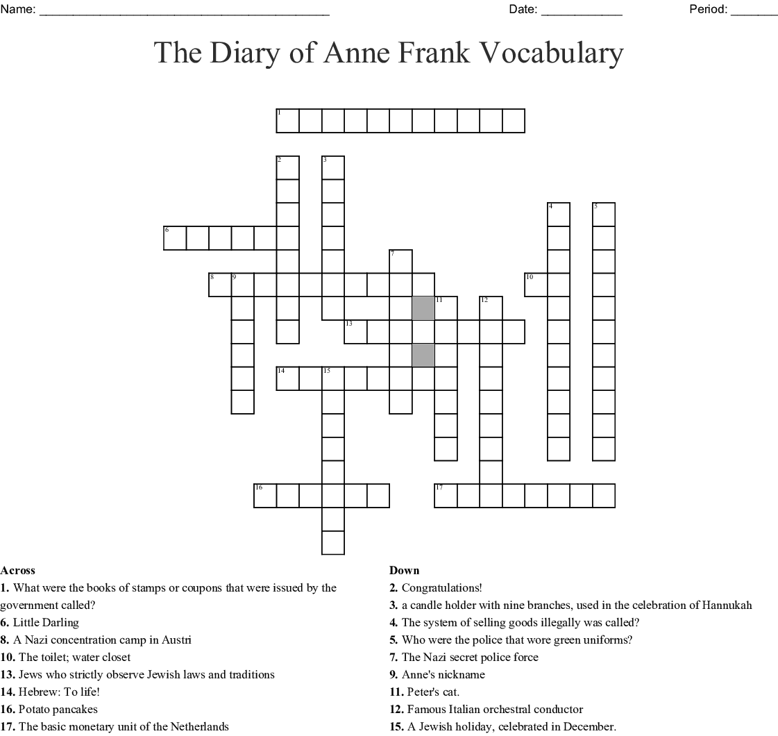 The Diary Of Anne Frank Vocabulary Crossword
