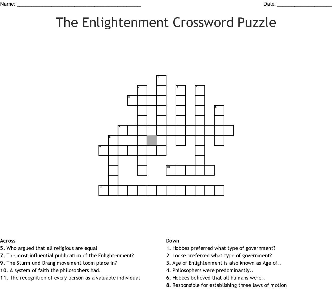 The Enlightenment Crossword Puzzle