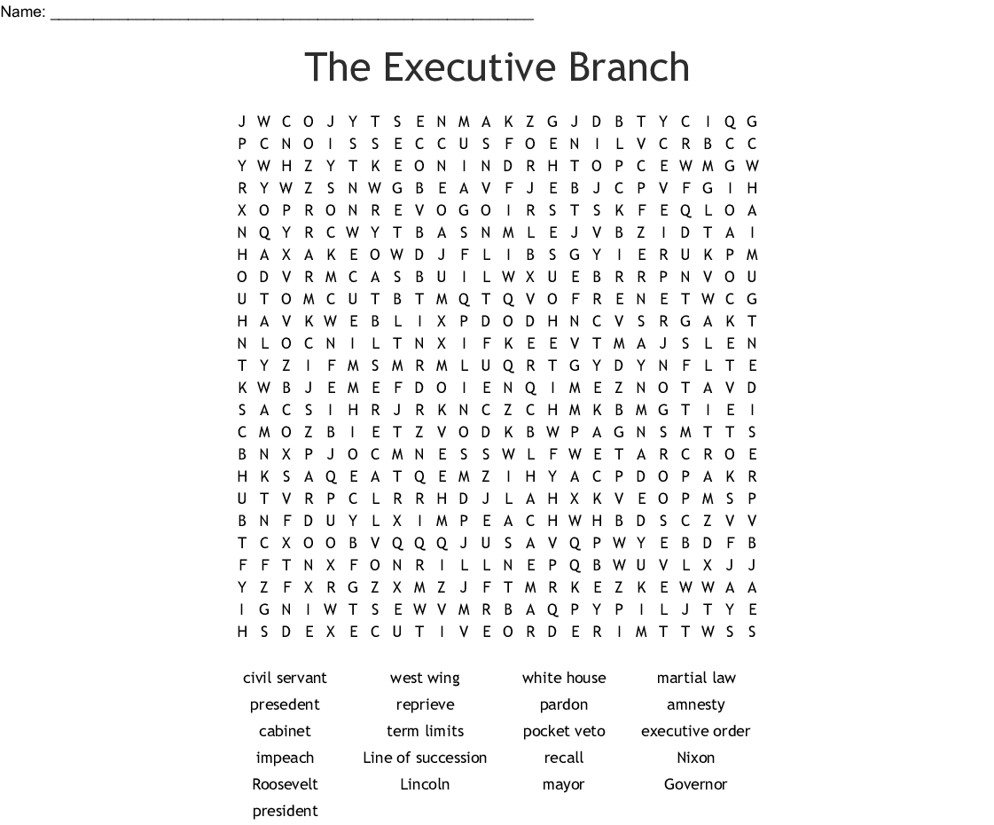 The Executive Branch Worksheet Answer Key