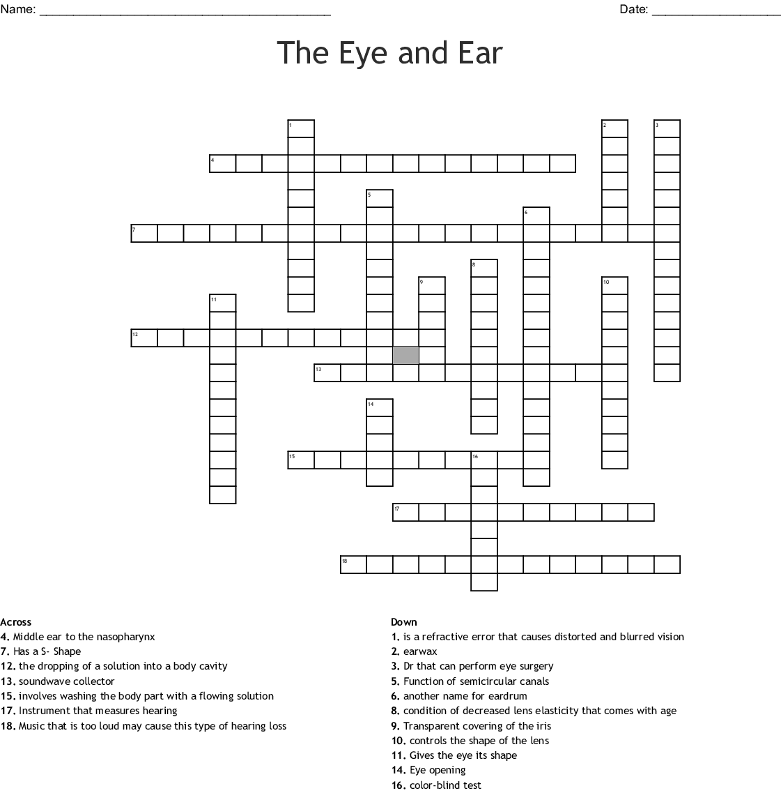 The Eye And Ear Crossword
