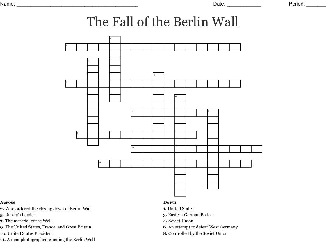 The Fall Of The Berlin Wall Crossword